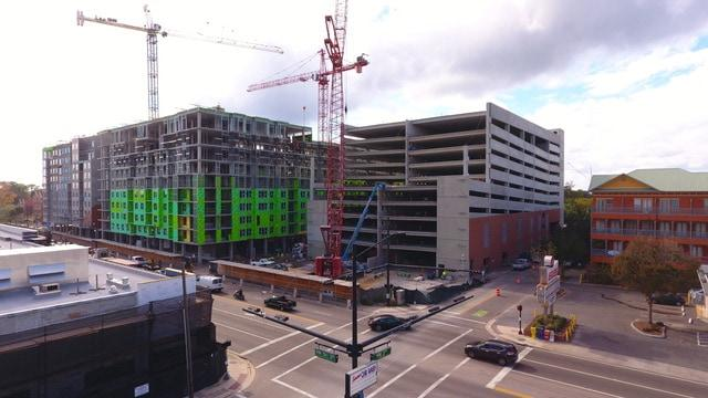 Construction aerial video drone footage example